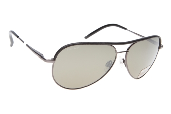 Serengeti Carrara Leather 8548 (Shiny Gunmetal / Black Leather) Gepolariseerd